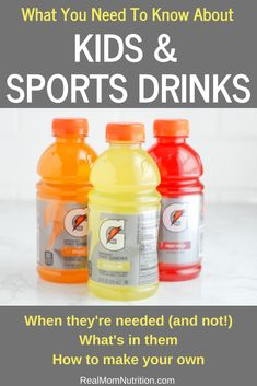 Which kids need sports drinks, which don't, what's in them, and more advice froma a dietitian-mom. Sports Snacks, Sports Drink, Kids Sports, Wee Games, Electrolyte Drink, Healthy Balanced Diet, Kid Drinks, Popular Drinks