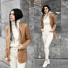 Holynights Claudia - Sheinside Turtleneck Ribbed Sweater, Sheinside White Jeans - White and Camel