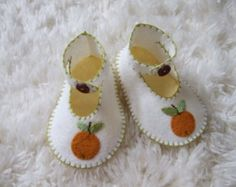 Baby Elephant Felt Baby Shoes  Can Be Personalized