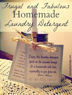 Once you try it, you'll be excited to share it!  Get your FREE printables  to make this simple homemade laundry detergent gift.  (Recipe included too) #DIY