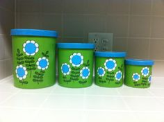 Vintage Canister Set 1970u0027s Retro Lime Green And By YourLostSock, $20.00
