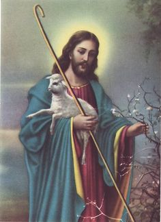 Vintage Small Print Jesus with Lamb (Vintage Religious Collectibles) at Whimzy Treasures