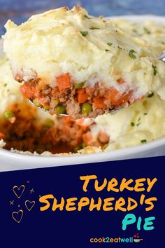 Shepherd's Pie is a comfort food favorite at my house. This turkey version is made with a flavorful tomato sauce, loaded with vegetables and topped with fluffy mashed potatoes. It's a different take on a classic that's hearty, wholesome and delicious. It's easy enough for a weeknight and cozy enough for Sunday dinner.