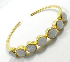 fashion party wear design Blue Lace Agate gemstone brass bangle bracelet jewelry #magicalcollection #Bangle #Gemstone #BangleJewelry #Bracelet #Adjustable #Handmade #artisan
