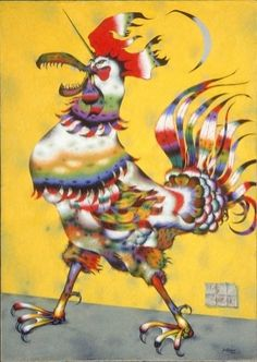 Jean Dallaire Canada), Coq licorne, Oil on canvas, x 91 cm. Art Actuel, Animal Symbolism, Chicken Art, Chicken Items, Art Calendar, Chickens And Roosters, Canadian Artists, Art Plastique, Bird Art