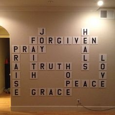 Scrabble prayer/praise wall, love this idea! Sunday School bulletin board idea.