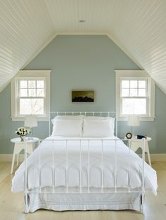 Love this wall color...maybe for the small guest bedroom, the furniture in there is a honey color, would look good with this blue and white maybe? Small room=light colors?