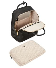 From our new Larkin collection comes the sleekly-structured Portola backpack. Designed from TUMI's iconic ballistic nylon with elegant leather trim for the multifaceted business woman, this slim-yet-durable backpack offers a decidedly feminine look, enlivened with gleaming gold hardware details and a perfectly-placed exterior pocket for instant access to small daily essentials. Even better, our design team created straps that discreetly slide into a back pocket, converting the backpack into…