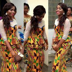 beautiful lady wearing kente kaba style