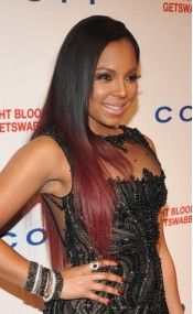 Custom Black to Red Ombre Ashanti Long Straight Full Lace Human Hair Wig