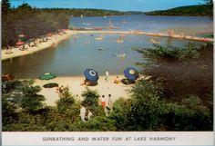 Sunbathing at the beach of Lake Harmony! Circa 1950's Split Rock Lodge, Pocono Mountains, PA