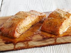 Cooking salmon over indirect heat on the grill brings smoky flavor to Bobby Flay's recipe for Cedar Plank Salmon from BBQ with Bobby Flay on Food Network. Best Bbq Recipes, Healthy Summer Recipes, Grilling Recipes, Cooking Recipes, Healthy Dishes, Healthy Eats, Cooking Games, Barbecue Recipes, Simple Recipes