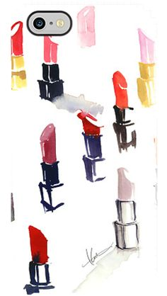 Lipstick Watercolor case by Katie Rodgers...how adorable!
