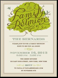 Family Tree Reunion Party Invitations Templates Invitation Template