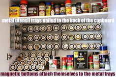 Spice Racks using metal mesh utensil organizers and magnetic tins.