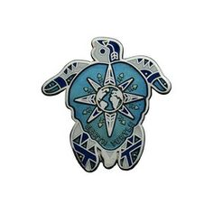 Geocaching / Geocoin lapel pin: Tsunrisebey - Earth Turtle 2008, blue, silver plating