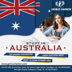Study in Australia. Admission open for Jan 2020 intake. For more information, Call: Australia Visa, Overseas Education, Social Media Design, Ielts, Chandigarh, Student Work, Study Abroad, Flyer Template, Coaching