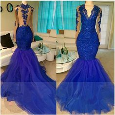 Royal-Blue V-neck Long-Sleeve Mermaid Sequins Appliques Beading Tulle Prom Dresses,46