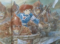 Illustrations done for the Nausicaa manga ===== Manga began running in monthly 'Animage' in Feb. 1982, collected in order of appearance ===== Notes: 1 of 7 pictures I was asked to do for a calendar. The pictures of the worm handlers or the God Warrior were things I was pretty sure were going to happen, but the story wasn't finished yet at all.
