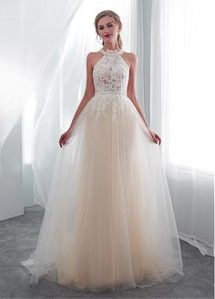 Champagne tulle lace long prom dress, lace evening dress, Customized service and Rush order are available Colored Wedding Gowns, Long Wedding Dresses, Tulle Wedding, Bridal Dresses, Prom Dresses, Formal Dresses, Wedding Bride, Rustic Wedding, Tulle Lace