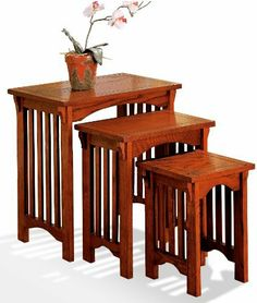 Oak Mission Style Nesting Tables by cstr. $125.12. 3pc mission style nesting table set. Warm mission oak finish will complement any decor  OAK NESTING TABLE (L)221422.50 OAK NESTING TABLE (M)16.51119.00 OAK NESTING TABLE (S)111115.50