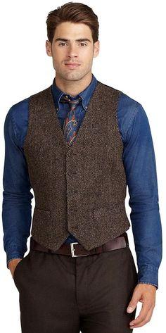 Brown Herringbone Wool Waistcoat: Brooks Brothers Harris Tweed Herringbone Vest