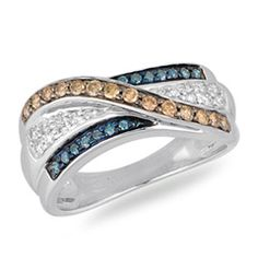 1/2 CT. T.W. Enhanced Blue, Champagne and White Diamond Band in 10K White Gold - Size 7 - Zales