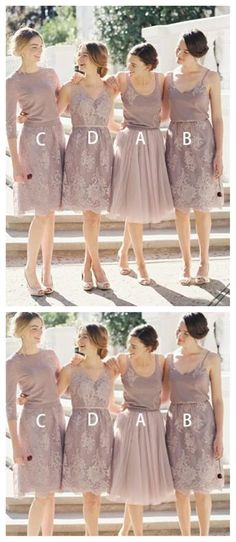 Mismatched Custom Short Lace Cheap Bridesmaid Dresses Online, Beautiful Long A-Line Bridesmaid Dresses, Short Lace Bridesmaid Dresses, Cheap Bridesmaid Dresses Online, Champagne Bridesmaid Dresses, Cheap Homecoming Dresses, Short Lace Dress, Cheap Dresses, Formal Dresses, Wedding Dresses, Bridesmaids