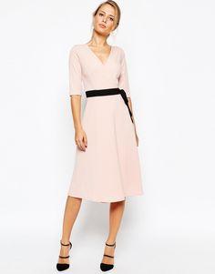 Image 1 ofTFNC Wrap Front Midi Dress With Obi Belt
