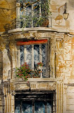 "geranium balcony, rue edgar quinet  40"" x 26"" micheal zarowsky / watercolour on arches paper / private collection"