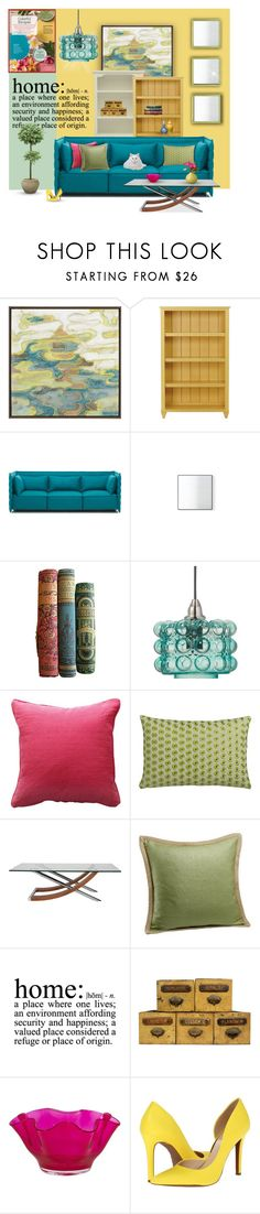 """Colorful Escape"" by nancysdrew ❤ liked on Polyvore featuring interior, interiors, interior design, home, home decor, interior decorating, Crate and Barrel, Ethan Allen, Vitra and Jamie Young"
