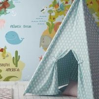 This super cool animal world map wallpaper mural will take your kid around the natural world. It has loads of fun detail to spark the. World Map Wallpaper, Kids Wallpaper, Elle Decor, Animals For Kids, Designer Wallpaper, Natural World, Abstract, Wall Murals, Blue Green