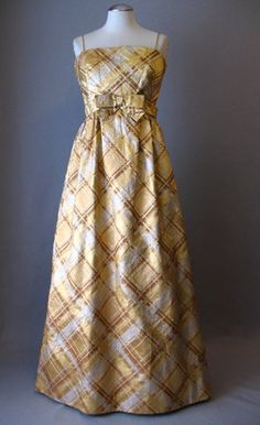 Vintage 60s Metallic Plaid Evening Dress by Malcolm Starr -Fashioned of heavy golden Duchesse satin woven w/gold, silver, & bronze metallic threads in a plaid pattern. Bust sz 36