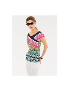 16def4cfb8175c Koop heine STYLE - Shirt met carmenhals multicolour in de heine online-shop