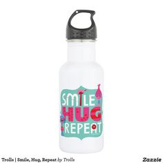 Trolls | Smile, Hug, Repeat. Regalos, Gifts. Producto disponible en tienda Zazzle. Product available in Zazzle store. Link to product: http://www.zazzle.com/trolls_smile_hug_repeat_stainless_steel_water_bottle-256853848228265189?CMPN=shareicon&lang=en&social=true&rf=238167879144476949 #bottle #botella #trolls