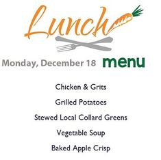 Happy Monday! Here's today's lunch menu served from 11-2!