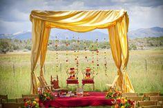 #Hindu #wedding #mandap, Colorado #mountain wedding #arbor, red & gold #fall flowers