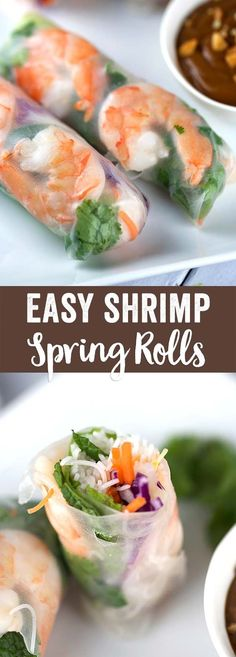 Shrimp Spring Rolls with Hoisin Peanut Dipping Sauce - A refreshing and delicious appetizer recipe. Each roll is filled with healthy crisp vegetables and herbs | jessicagavin.com via @foodiegavin