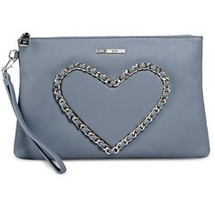 Love Moschino Clutch (2 330 ZAR) ❤ liked on Polyvore featuring bags, handbags, clutches, grey, love moschino handbags, gray handbags, zipper purse, love moschino purse and grey purse