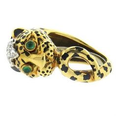 David Webb Enamel Emerald Diamond 18k Gold Platinum Leopard Ring