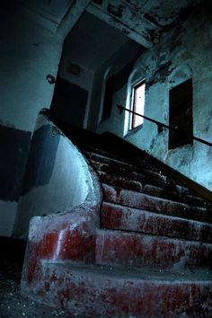 Creepy staircase at the haunted Elsinore Naval Military Academy in Lake Elsinore California