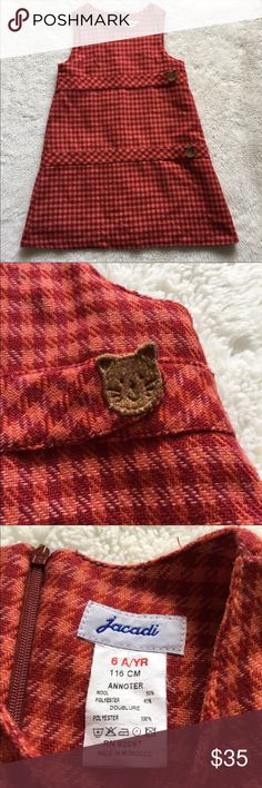 Jacadi Girls Wool Brick Red Cats Dress size 6 Pre-owned authentic Jacadi Girls Wool Brick Red Cats Houndstooth Dress size 6. Please look at pictures for better reference. Happy Shopping! Jacadi Dresses