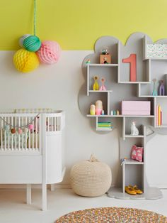 Such a sweet #nursery! Plus, what a cool bookcase. #unisex #decor