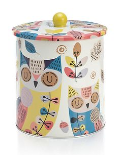 Autumn Owl Print Biscuit Tin | M&S