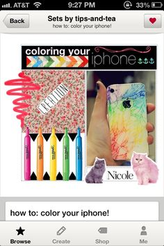 1. get your cracked iphone! (it only works if it's white though, sorry to those black iphone owners)  2. get some highlighters, if you don't have any you can buy them just about anywhere, and they're really cheap!  3. just color all of the back with your highlighters!  4. rub any excess ink off of the back, the rest will stay in the cracks.  5. cover with clear nail polish so it stays in the cracks and no shards come out!  6. voila! enjoy
