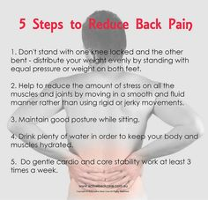 5 Steps to Reduce Back Pain #chiropractic