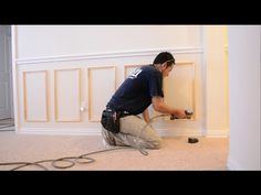 How to Install Chair Rail and Picture Frame Moulding - YouTu Diy Crown Molding, Panel Moulding, Moldings And Trim, Wall Molding, Crown Moldings, Baseboard Molding, Picture Rail, Picture Frame Molding, Picture Frames
