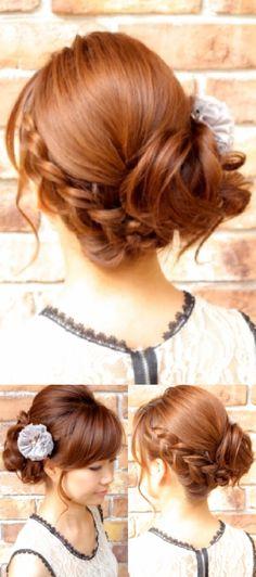 定番人気 編みこみサイドアップ☆結婚式2次会アップ Party Hairstyles, Wedding Hairstyles, Hair Hub, Hair Arrange, Bun Updo, Festival Hair, Bridal Looks, Cut And Color, New Hair