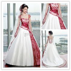 Wholesale Wedding Dresses - Buy Style Beautiful White And Red Bridal Gown A-Line Court Off-the-shoulder Applique Wedding Dresses H24, $177.27 | DHgate