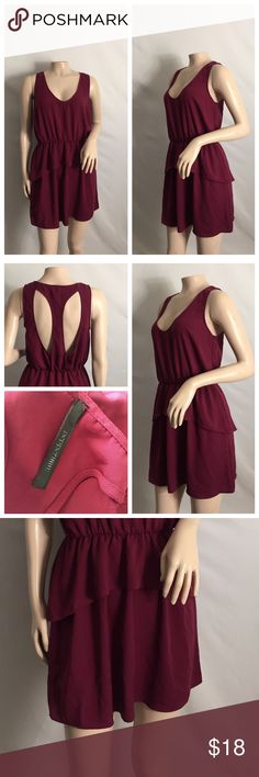 Peppermint burgundy small 100% polyester dress Peppermint burgundy small 100% polyester dress layers in the front of the dress to make it more flattering the back design makes it more fun and flirty 😍😌 no rips or stains NO IMPERFECTIONS this dress is beautiful peppermint Dresses